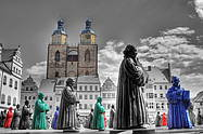 some of the 800 figures of Martin Luther in Wittenberg